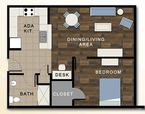 Floor plan of a typical Antoine Court apartment