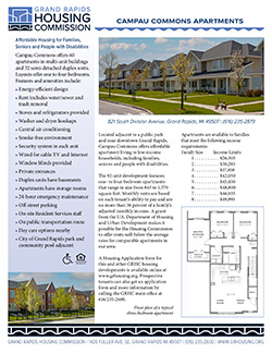 Fact sheet for Campau Commons Apartments