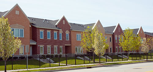 Campau Commons Apartments, rowhouses along Franklin Street SW