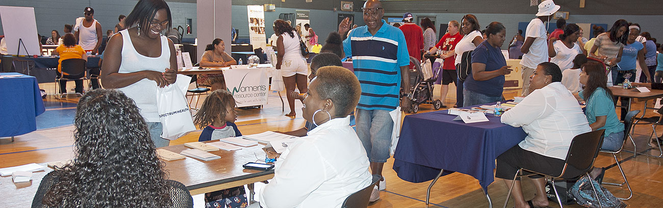 GRHC residents and community service organizations at a Resource Fair