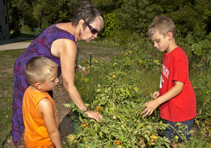 a female resident tends a tomato garden with her two young grandsons